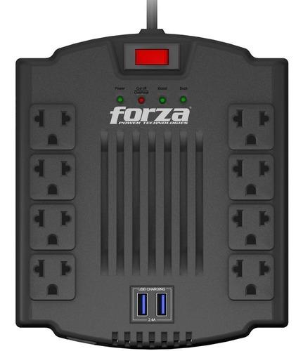 Regulador Voltaje Automatico Forza 1200va/600w 8 Salidas Usb