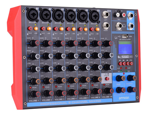 Ammoon Ag-8 - Consola De Mezcla Portátil (8 Canales, Audio D