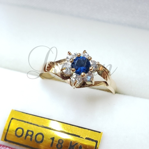 Anillo Oro 18k Roseta Azul Zafiro Dama Compromiso Casamiento