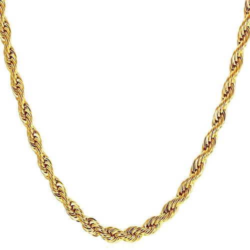 Collar De Cadena De Acero Inoxidable Chapado En Oro 18k