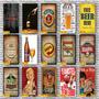 Kit 7 Quadro Placas Decorativas 20x30 Filme Bebidas Frase Original