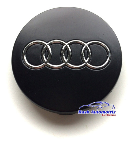 Tapa De Aro Audi Negro 6cm Logo De Rueda Audi