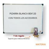 Pizarra Blanca 80x120 Borde Metal + Accesorios