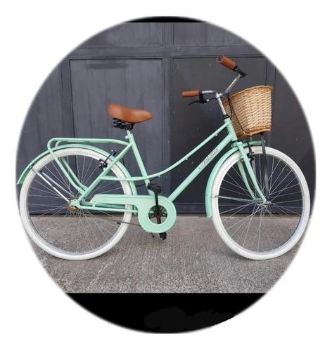 Bicicleta Con Porta Paseo Rodado 26 Dama  Mujer Retro
