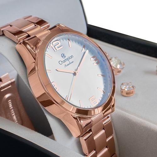 Relógio Champion Feminino Rosê Cn25967x Original Nota Fiscal