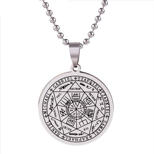 Collar Amuleto Sello 7 Arcangeles Acero Inoxidable Hombre