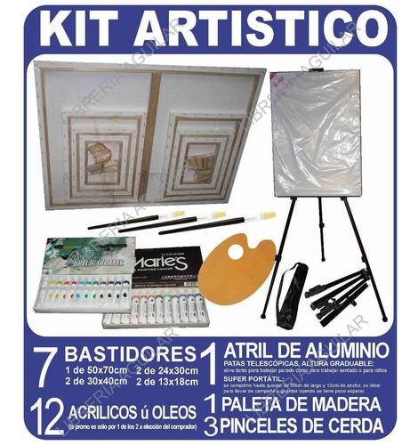 Kit Atril Metal 7 Bastidor Oleos Acrilicos Pinceles Paleta