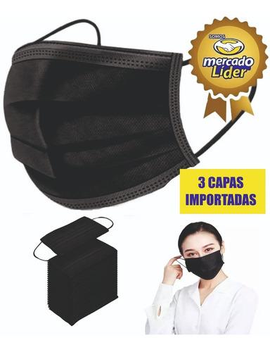 Mascarilla Quirurgica Negras 3 Pliegues Importado X 50 Und.