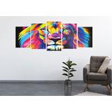 Cuadro Leon Full Color Poliptico Moderno Animales 1.05mx40cm
