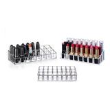 Pack 3 Cosmetiquero Acrilico Organizador 24 Labiales Brochas