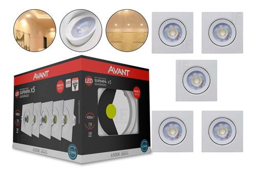 Kit 5 Spot Led Embutir Direcionável Luminaria Cozinha Quarto