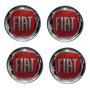Jogo Emblema Resinado Fiat Vermelho Roda Calota Centro 48mm Original