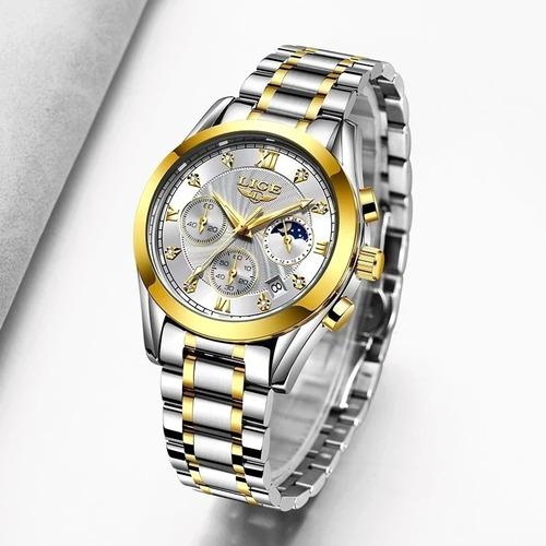 Relógio Feminino Lige 8912  Luxo Original Resistente À Àgua