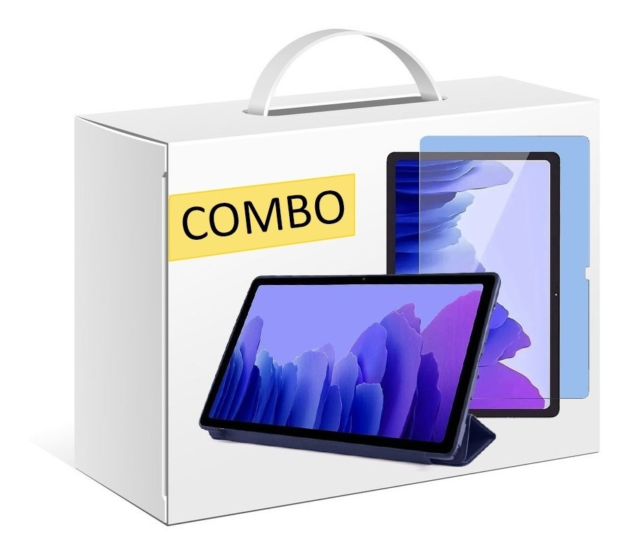 COMBO FUNDA SMART TPU PARA SAMSUNG TAB A7 T500 AZUL + VIDRIO