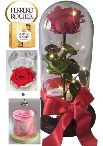 Rosa Preservada 100% Natural 29 Cm De Altura + Luz + Envio