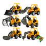 Box Com 6 Mini Caminhões Escavadeira Brinquedo Colecionável Original