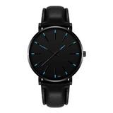 Reloj Hombre Negro Elegante Cuero