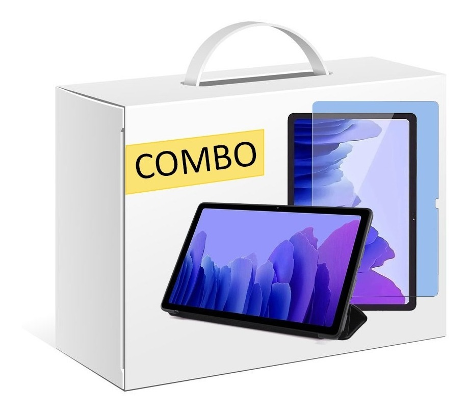 COMBO FUNDA SMART TPU PARA SAMSUNG TAB A7 T500 NEGRO + VIDRIO