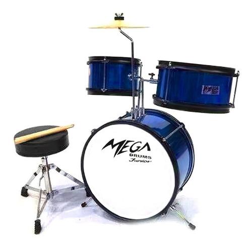Bateria Legend Mega Drums Junior Azul Incluye Banqueta P