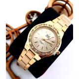 Reloj Analogo Qyq Quartz Mujer Pulso Acero Murano + Estuche