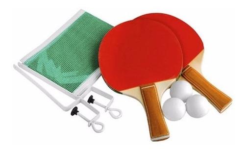 Set Ping Pong 2 Paletas + 3 Pelotas + Red + 2 Soportes Gtia