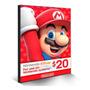 Cartão Nintendo Eshop Usa Switch 3ds Wii U Ecash $20 Dolares Original