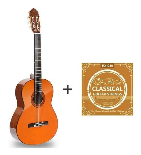 Guitarra Acústica Yamaha C40 + Set De Cuerdas De Nylon