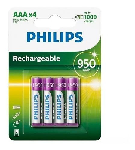 Pilas Aaa Recargables Philips 950mah Pack De 4 Pcreg