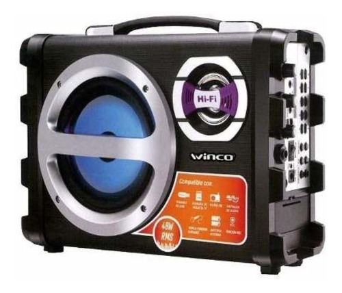 Parlante Portatil Bluetooth Usb Sd Fm Karaoke 40w Winco W209