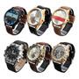 Kit Com 6  Relógios Masculino Pulseira De Couro Atacado Original