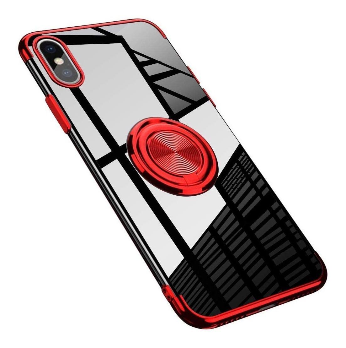 FUNDA CLEAR ANILLO IPHONE XS MAX ROJO