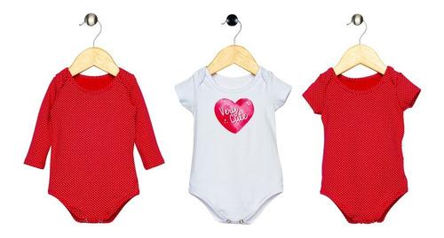 Kit 3 Bodies Bebê Menina Vermelho Poá E Branco Elian