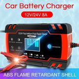 Cargador Batería Carro Auto 12v 8a 24v Rápido Smart Agm Gel