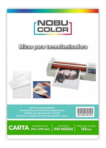 Micas Para Termolaminadora Carta - 100 Hojas 125 Mic.