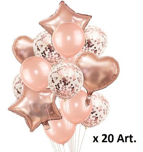 20 Art Globos Fyc Gold Rose / Corazon Estrella Confetti Rosa