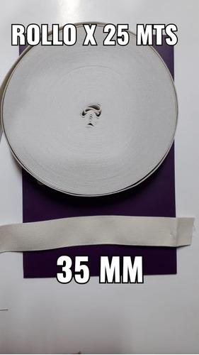 Elástico Algodón De 35mm Blanco  Por 25 Mts