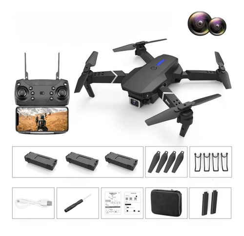 Drone E-525 Dual Cámara 4k Wifi Fpv 3 Baterías + Maletín