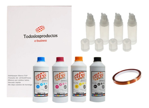 Kit 4 Tintas Premium Tlp 100ml Sublimación Papel A4 Botellas