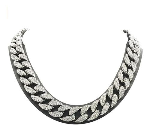 Collar Gargantilla Cadena Cubana Con Circoni+ Caja De Collar