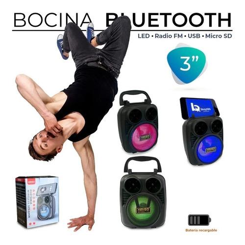 Mini Bocina Bluetooth 3 Pulgadas Fm Usb Micro Sd Luz Led
