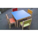 Mesa Y 4 Sillas Para Niños Colores.