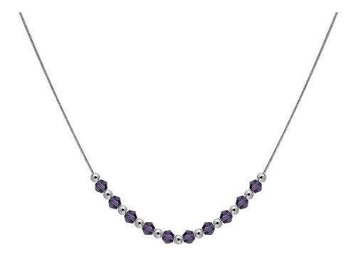 Collar Carmin De Plata Y Cristales Violeta