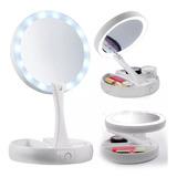 Espelho De Luz Led Dobravel Aumenta 10x Maquiagem Portátil