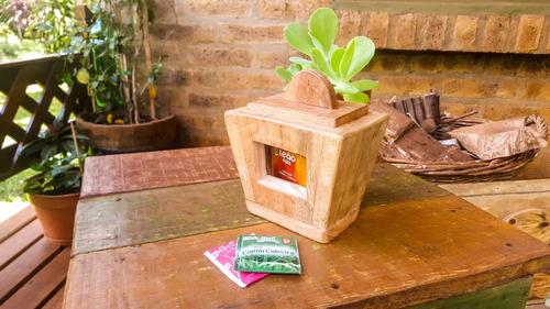 Porta Caramelos Madera Con Visor Mbarete Artesanías