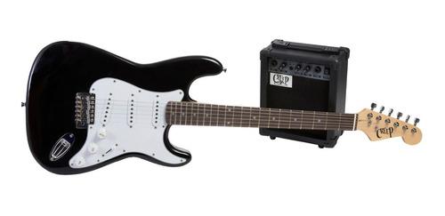 Pack Guitarra Stratocaster Y Amplificador Creep Completo Bk