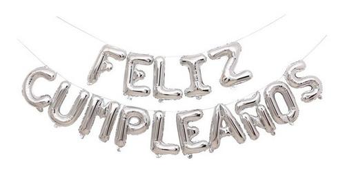 15 Letras 40cm Feliz Cumpleaños Globos Metalizados Plateado