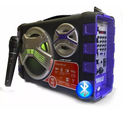 Parlante Bluetooth Portatil Luz Usb Microfono Winco Oferta