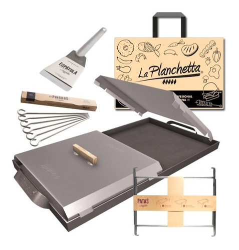Plancheta Kit Full Con Tapas Espátula Patas Pinchos Y Bolsa
