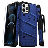 Zizo Bolt Series iPhone 12 Pro Max Funda Con Protector Azul