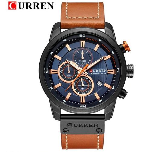Reloj Curren Quartz Azul Y Cafe Gran Calidad Envio Gratis